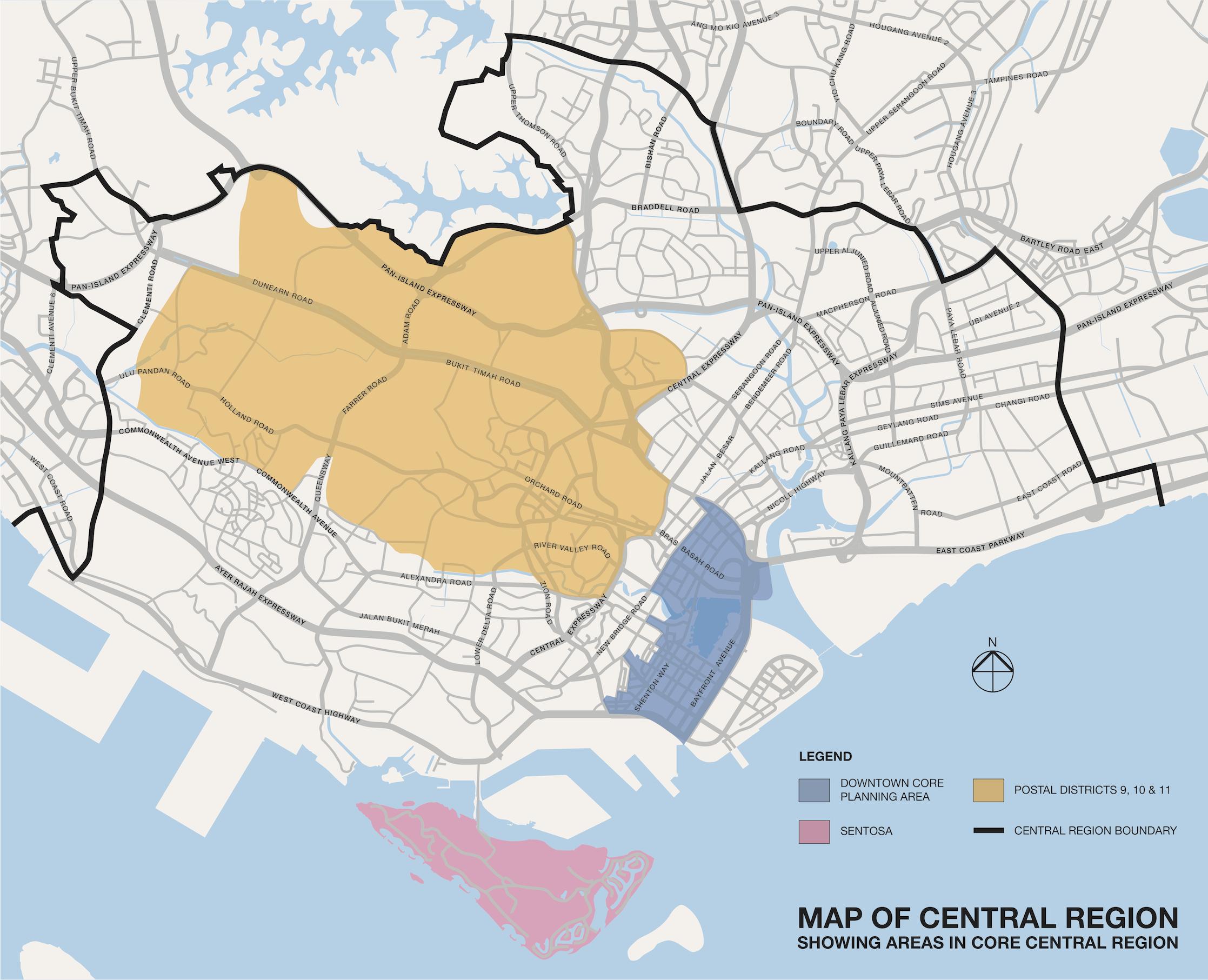 Singapore central region map