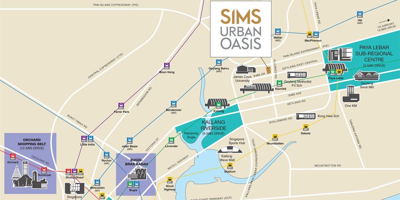 Sims Urban Oasis condo Location Map