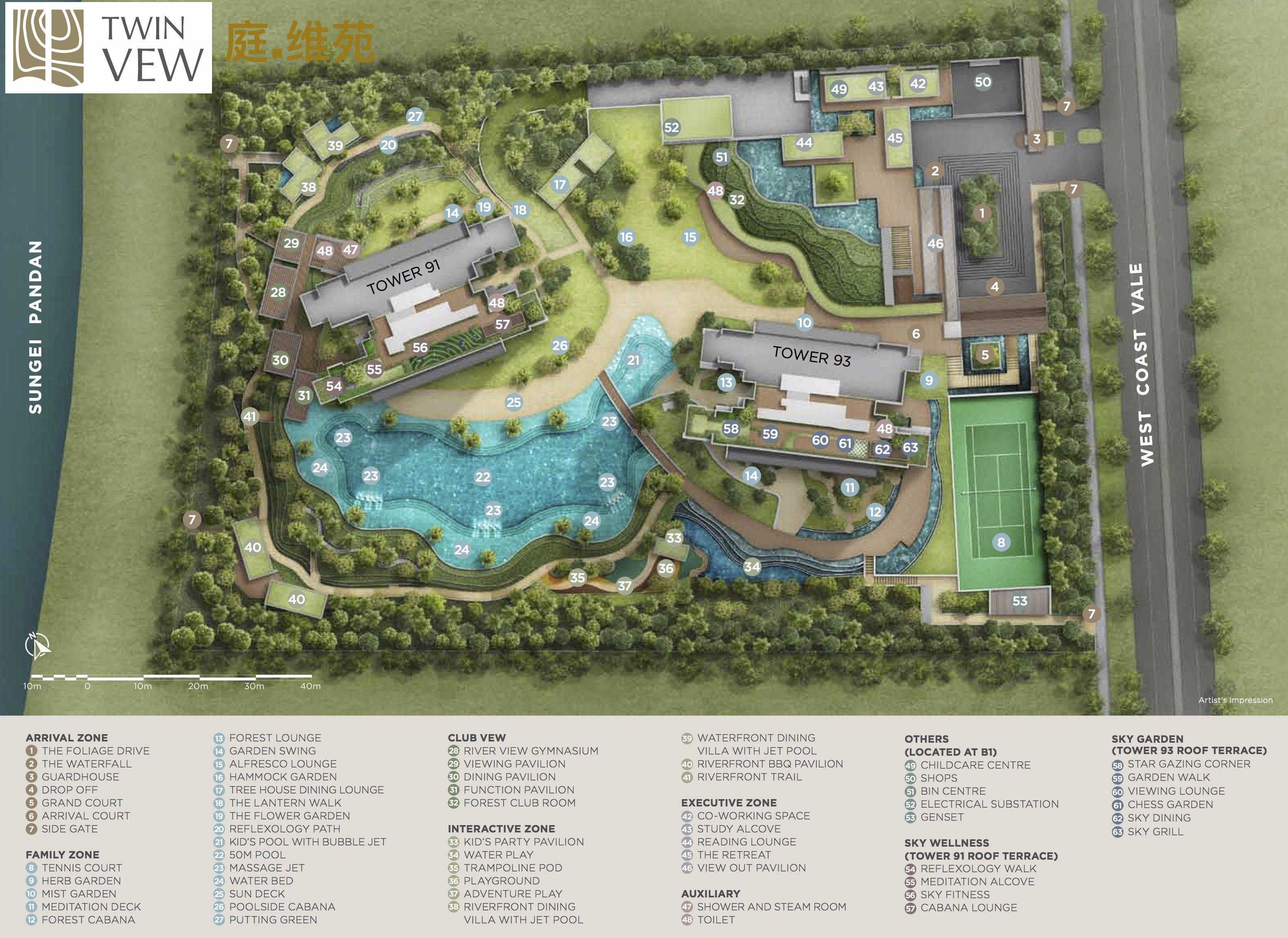 Twin VEW condo site plan with facilities