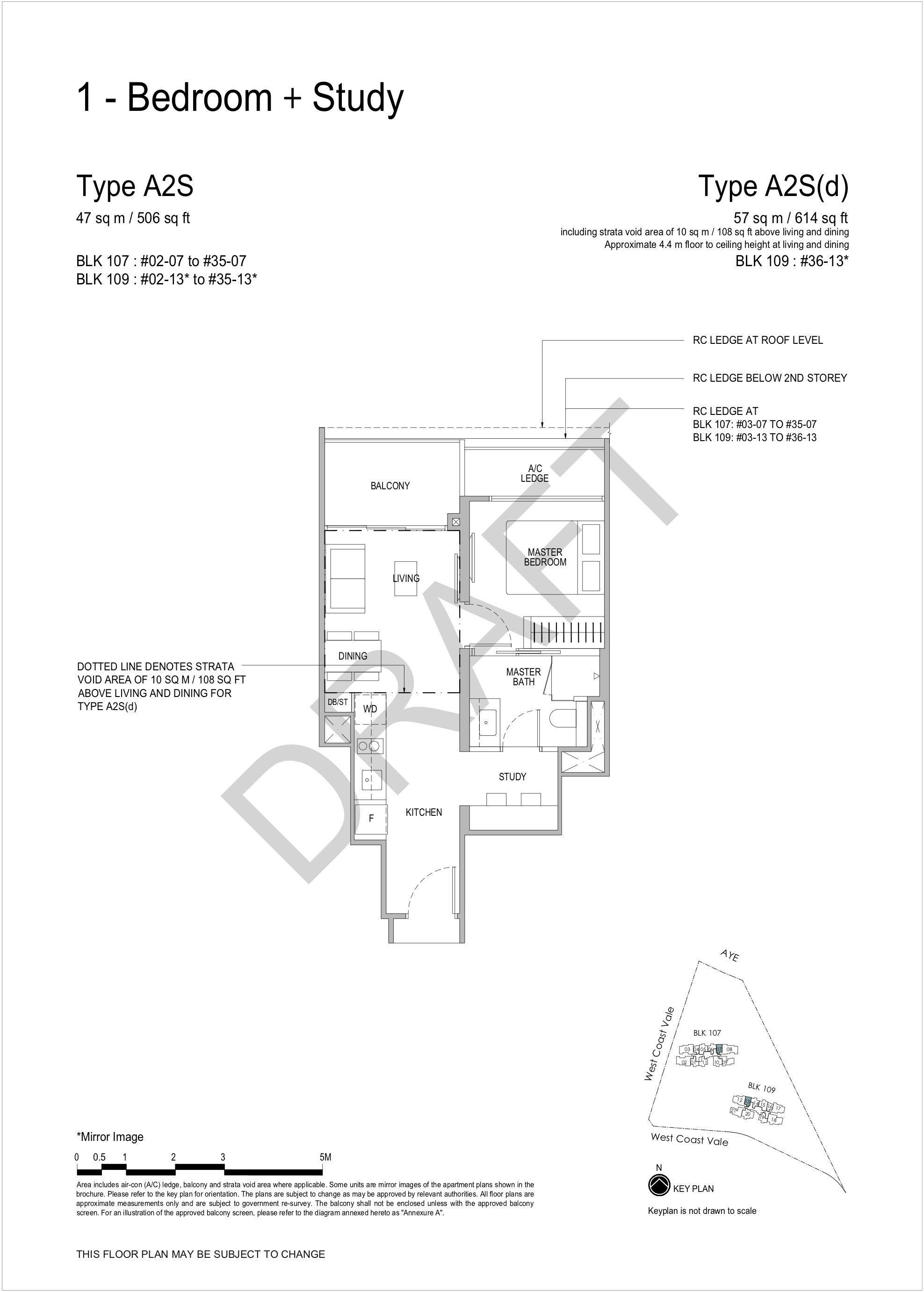 Whistler Grand 1 bedroom + study floor plan A2S