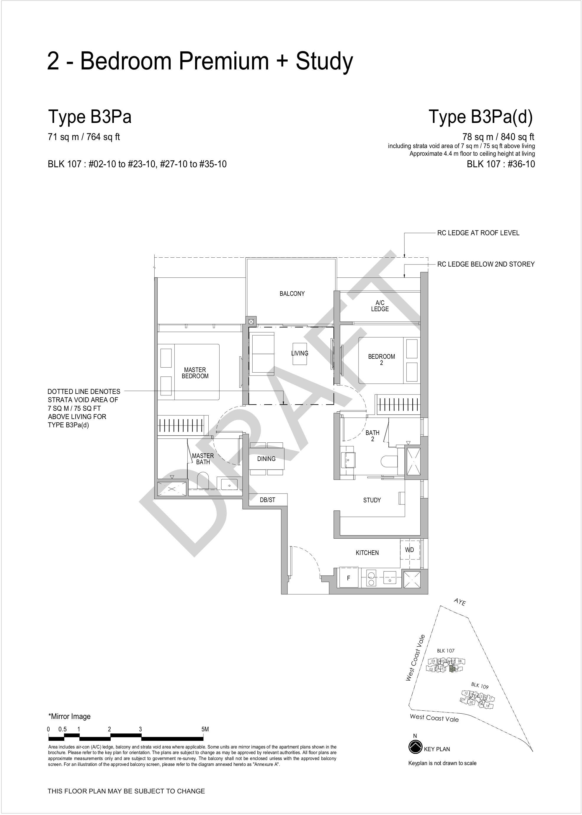 Whistler Grand 2 bedroom premium study floor plan B3Pa
