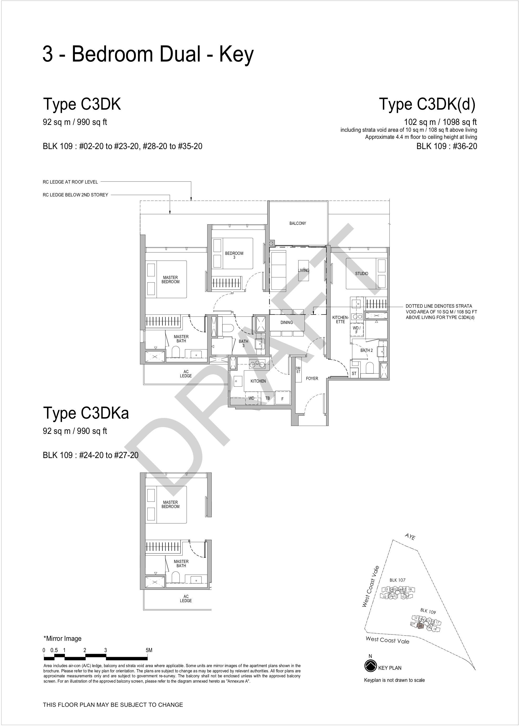 Whistler Grand 3 bedroom dual key floor plan C3DK