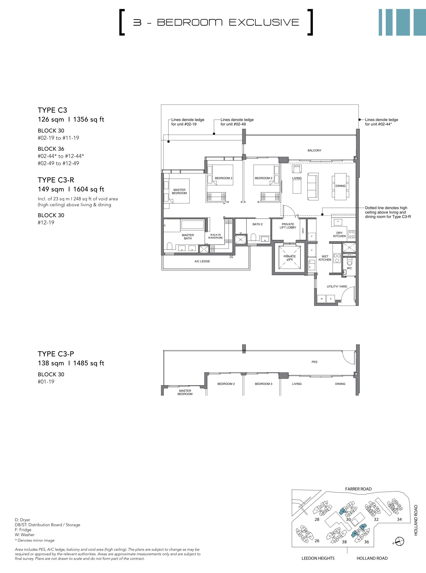 绿墩雅苑公寓户型图 Leedon Green floor plan 3 bedroom exclusive c3