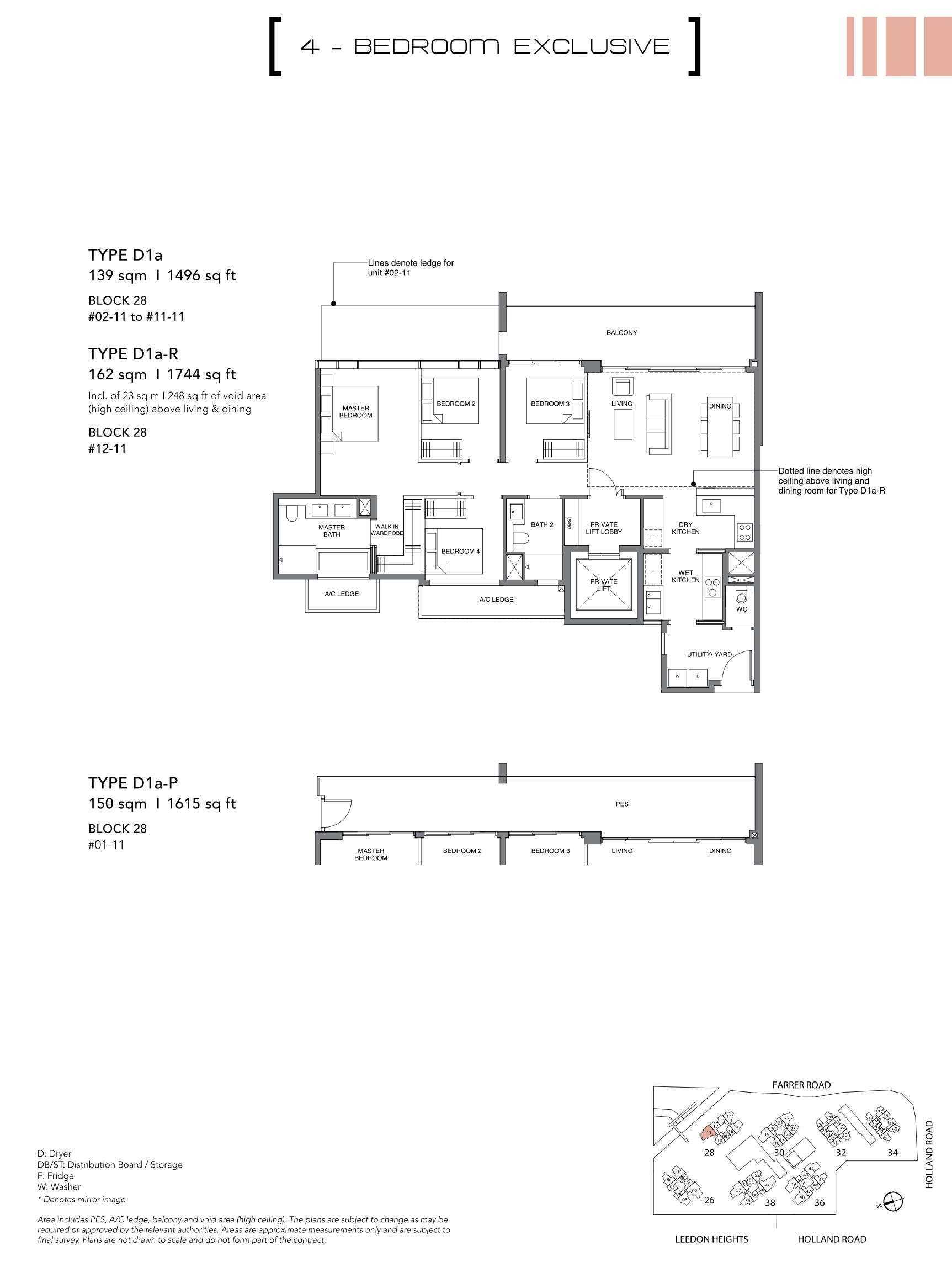 绿墩雅苑公寓户型图 Leedon Green floor plan 4 bedroom exclusive D1a and D1a-p