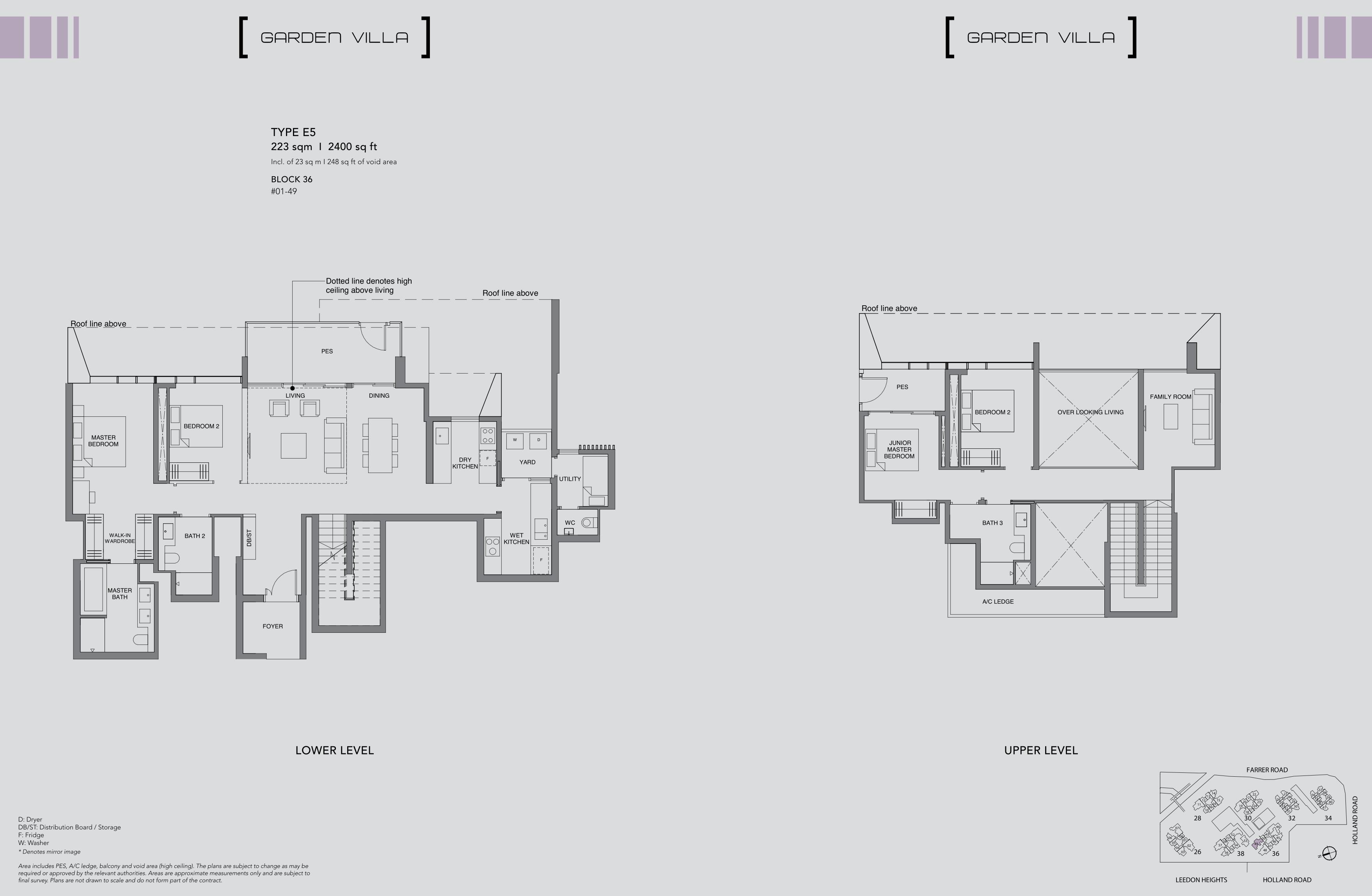 绿墩雅苑公寓户型图 Leedon Green floor plan Garden villa 4 Bedroom E5
