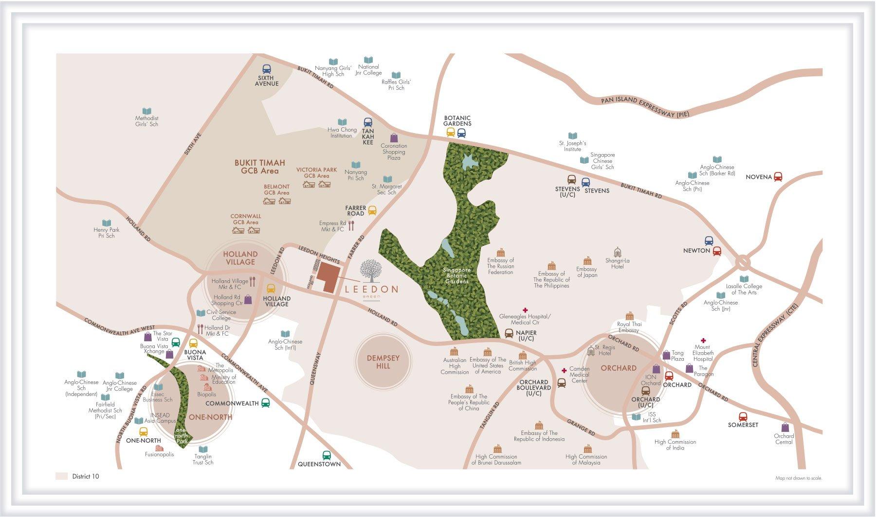 绿墩雅苑地段优越 leedon green location map developer