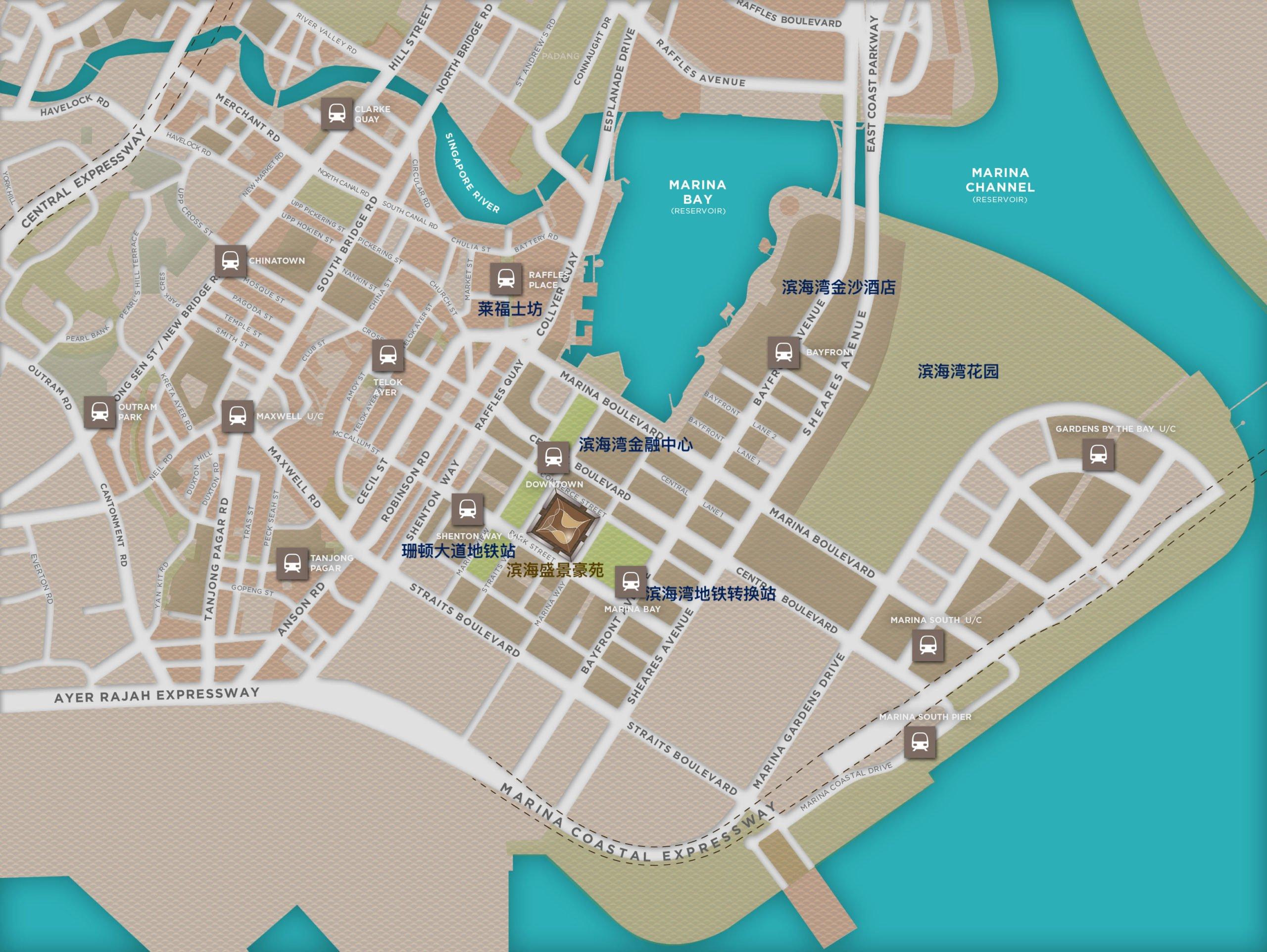 滨海盛景豪苑地段地图 marina one residences location map