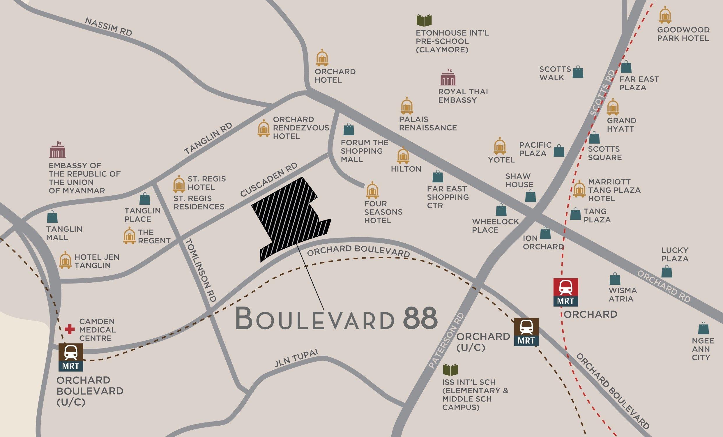 铂瑞雅居 Boulevard 88 condo location map