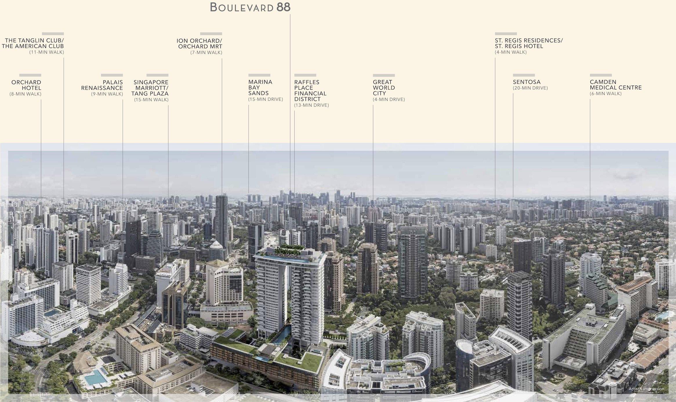 铂瑞雅居 Boulevard 88 location and amenities