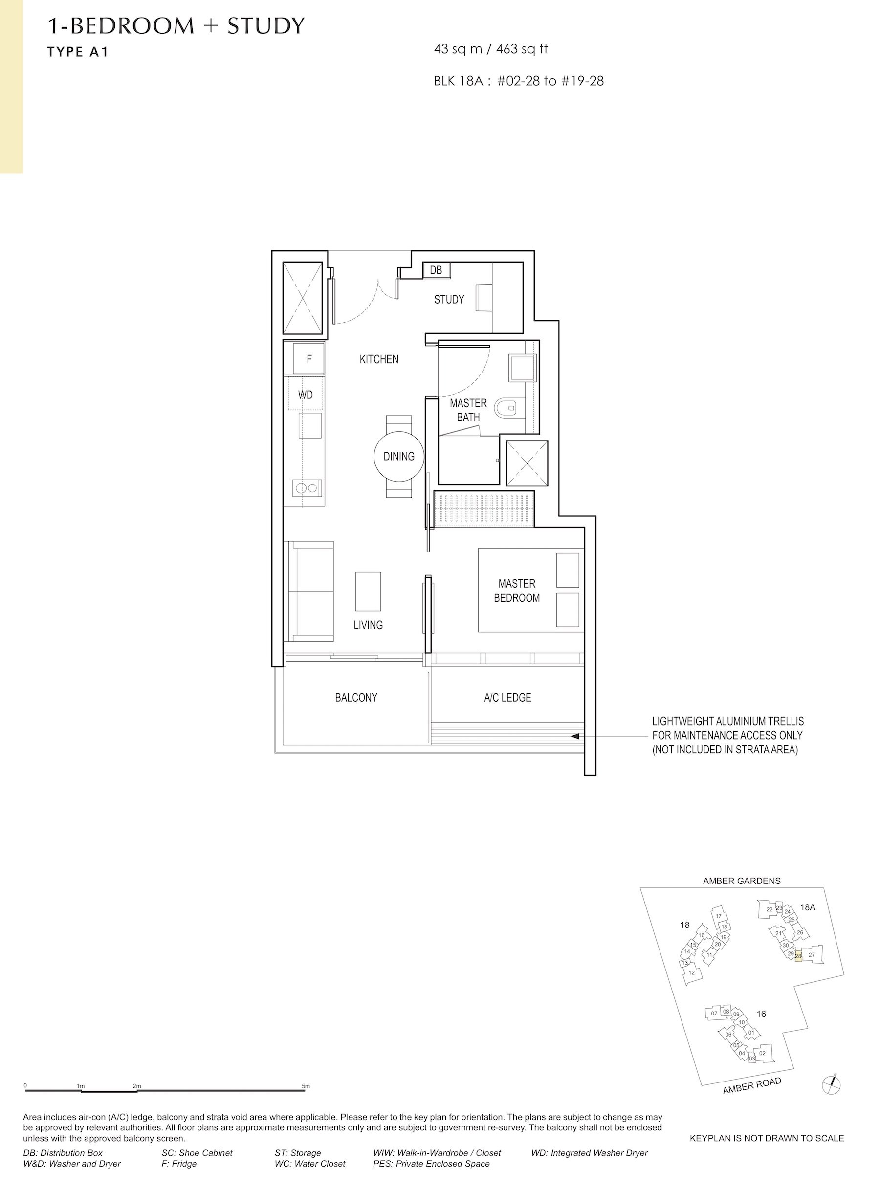 Amber Park 安铂苑 floor plan 1 bedroom + study 1卧房+书房 A1