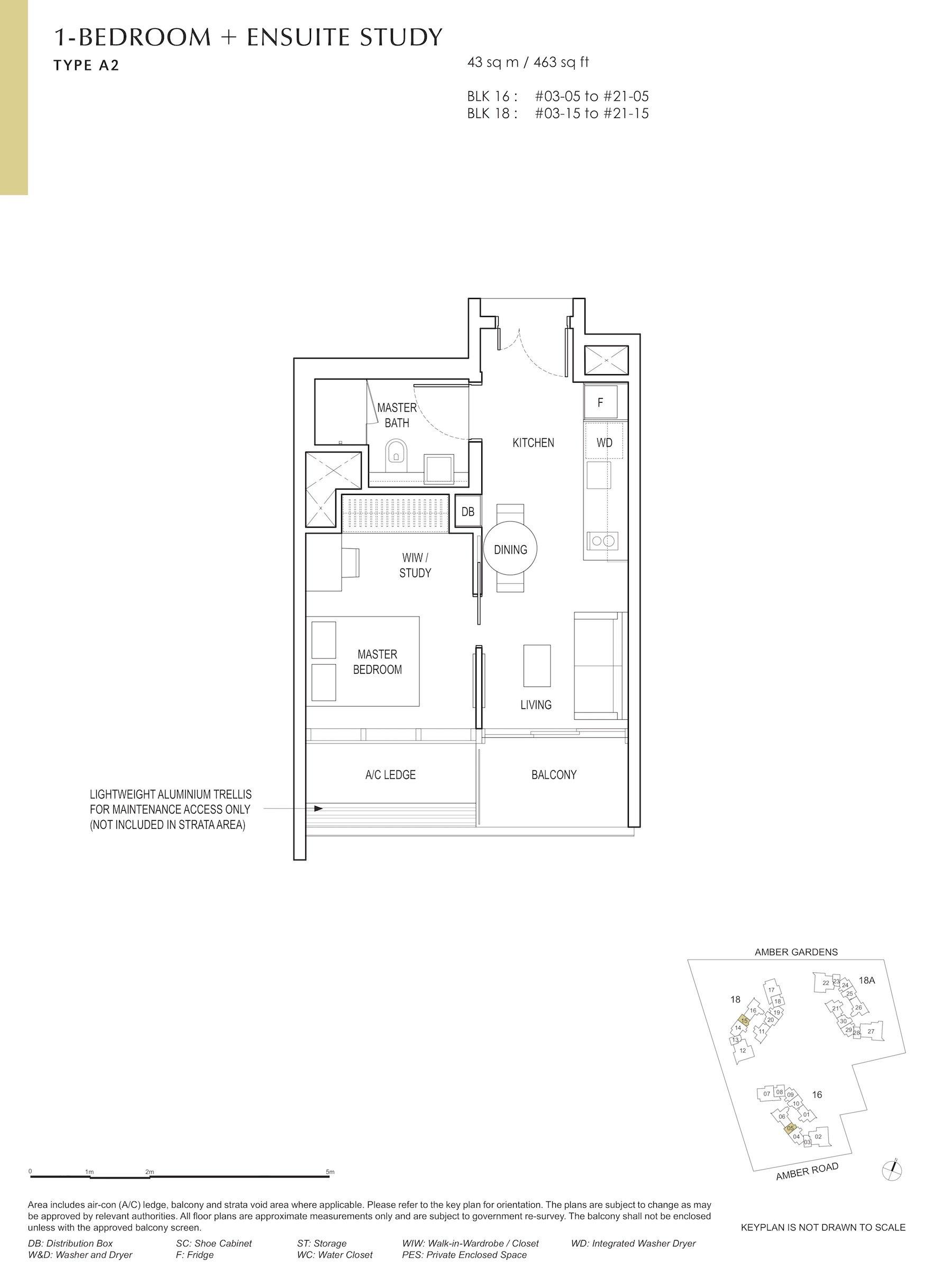 Amber Park 安铂苑 floor plan 1 bedroom + study 1卧房+书房 A2