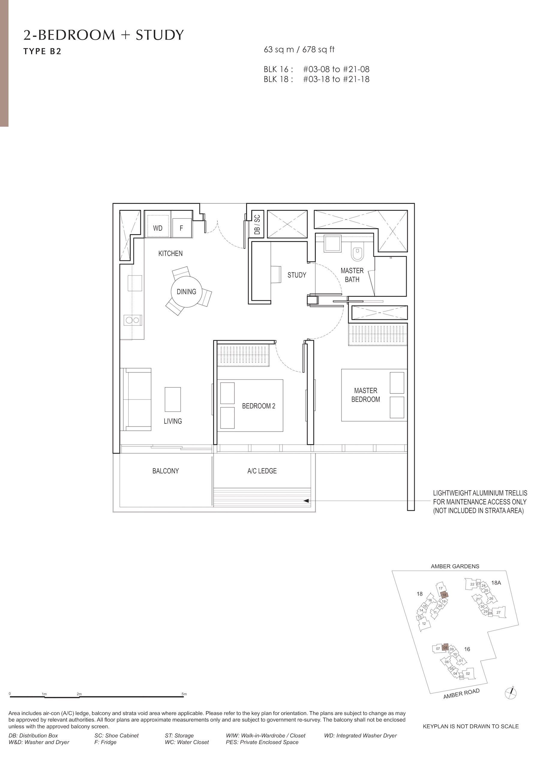 Amber Park 安铂苑 floor plan 2 bedroom + study 2卧房+书房 B2