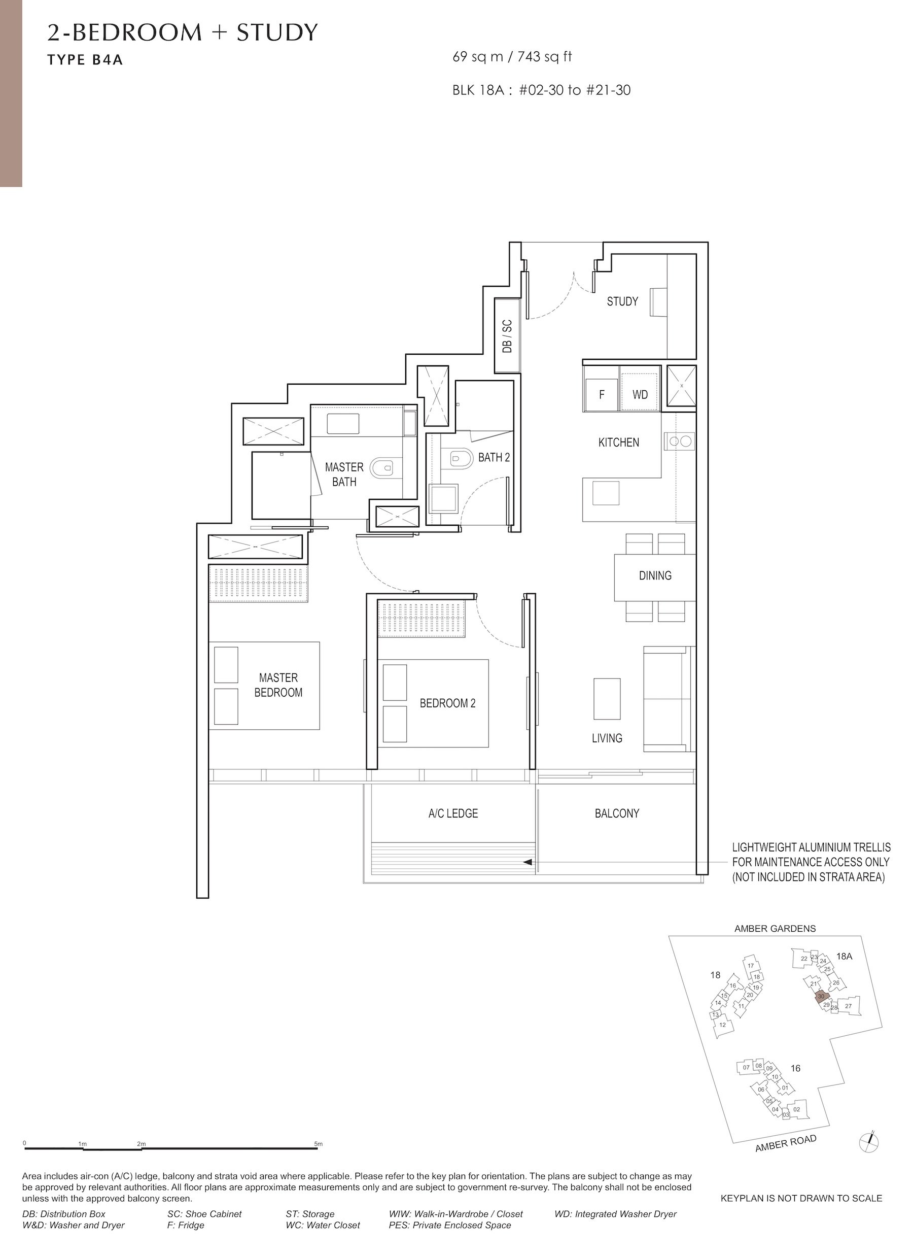 Amber Park 安铂苑 floor plan 2 bedroom + study 2卧房+书房 B4A