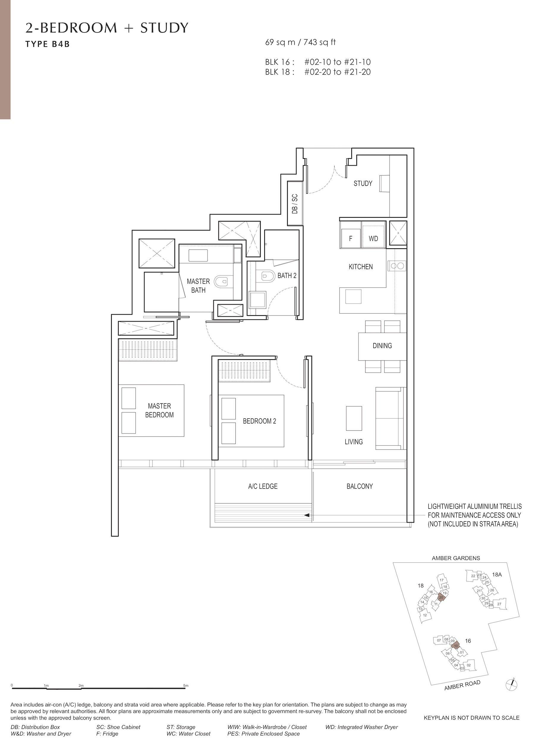 Amber Park 安铂苑 floor plan 2 bedroom + study 2卧房+书房 B4B
