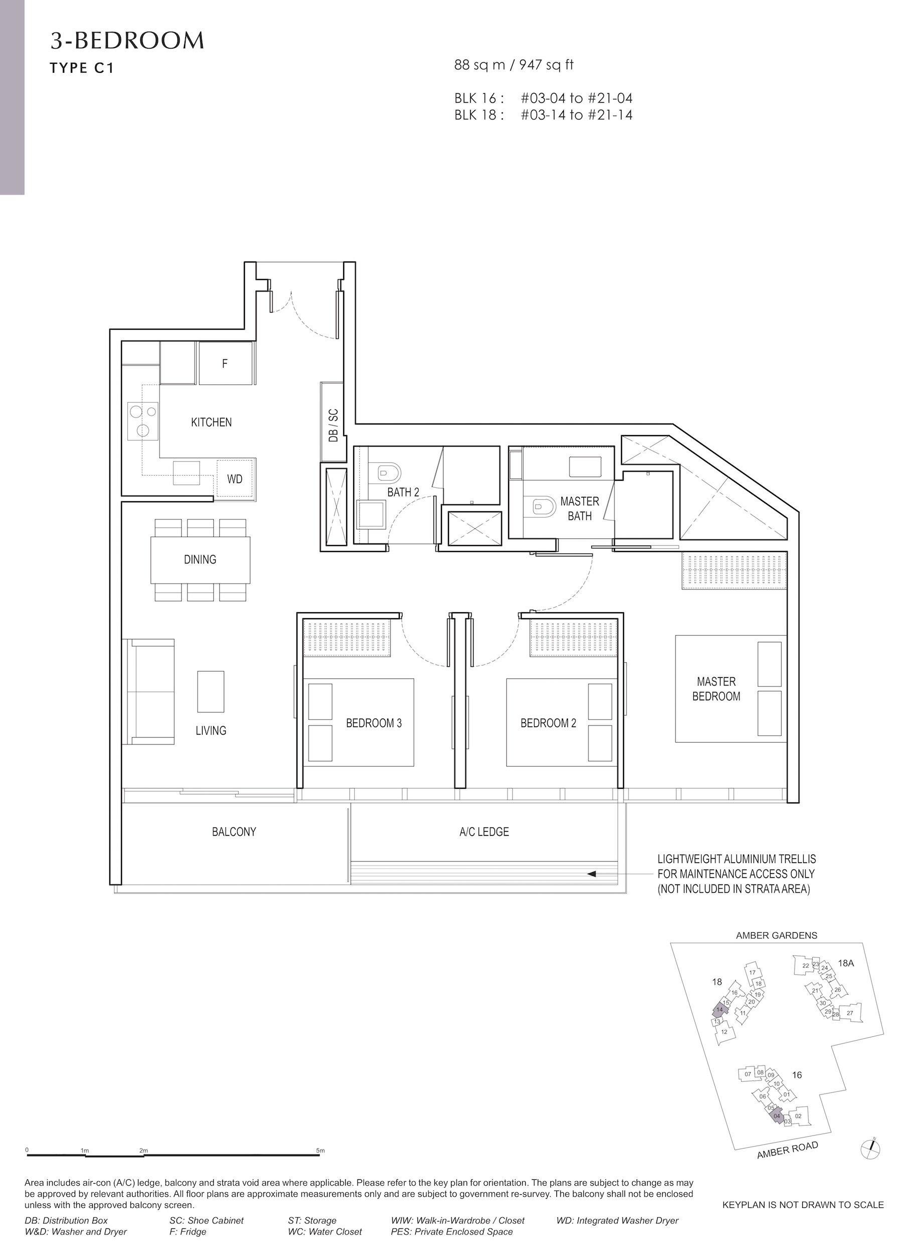 Amber Park 安铂苑 floor plan 3 bedroom 3卧房 C1