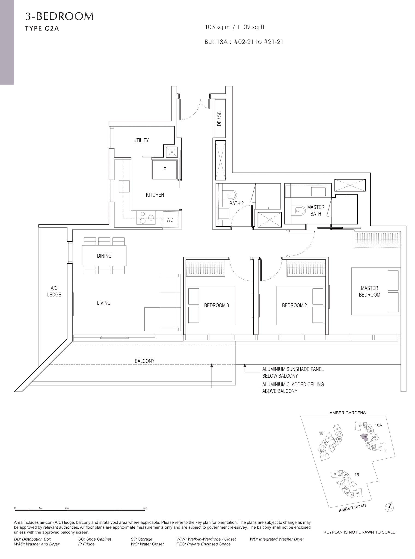 Amber Park 安铂苑 floor plan 3 bedroom 3卧房 C2A