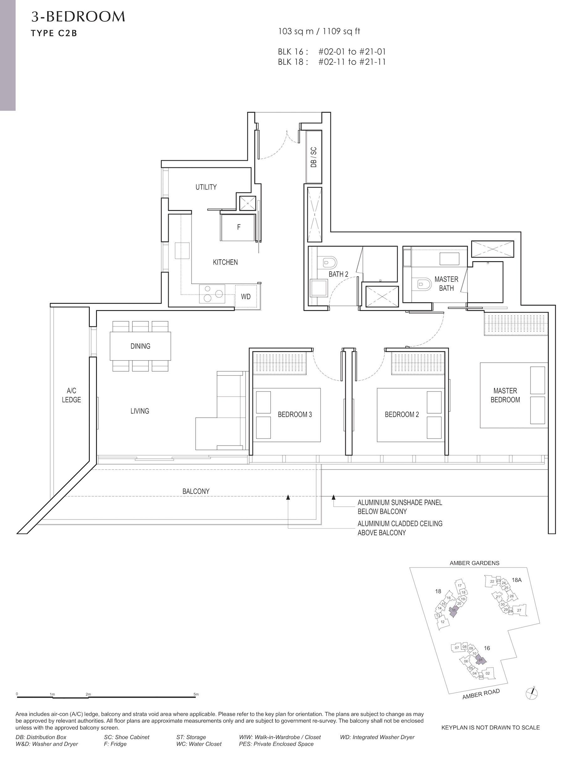 Amber Park 安铂苑 floor plan 3 bedroom 3卧房 C2B