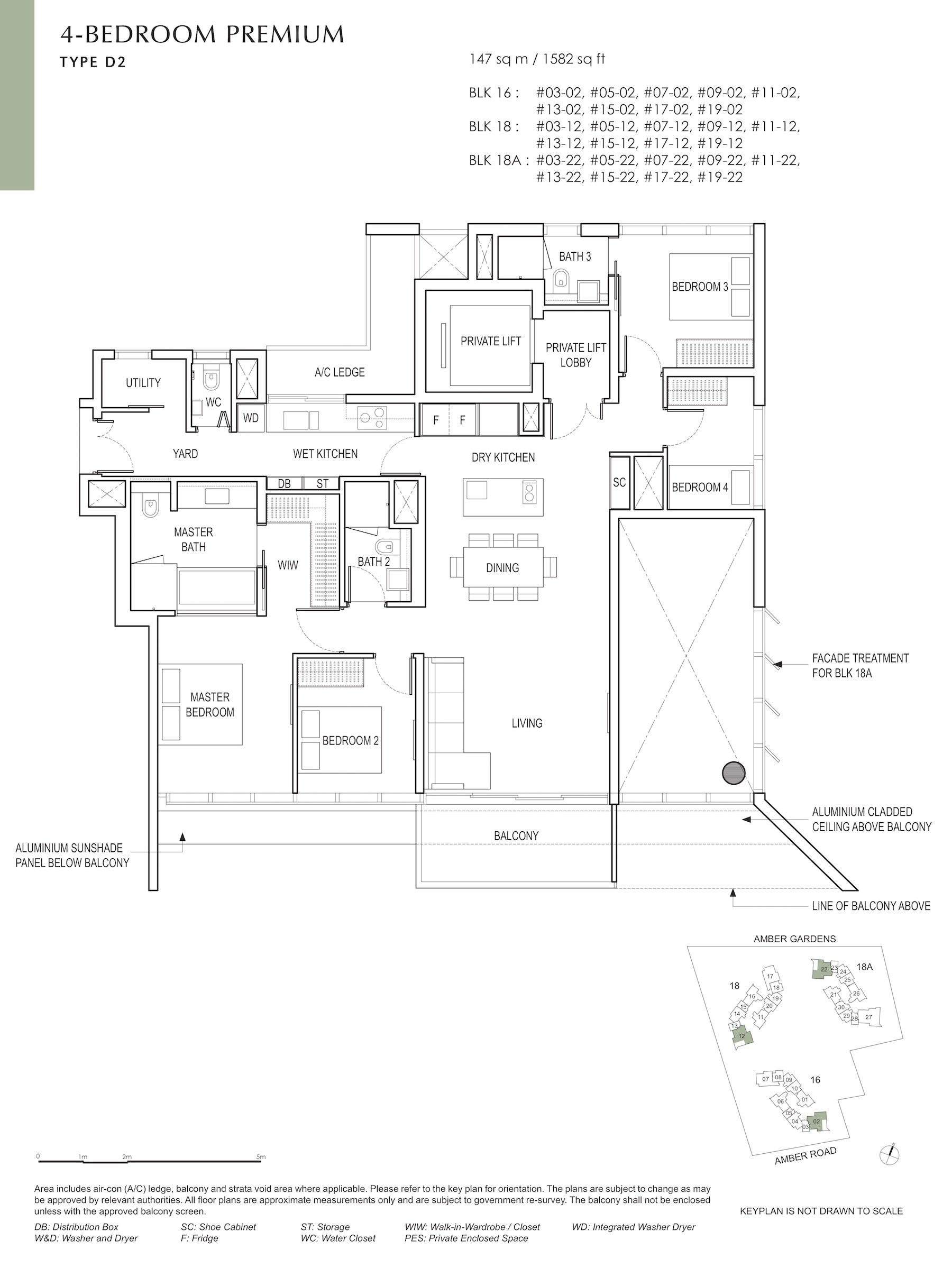 Amber Park 安铂苑 floor plan 4 bedroom premium 4卧房优质 D2