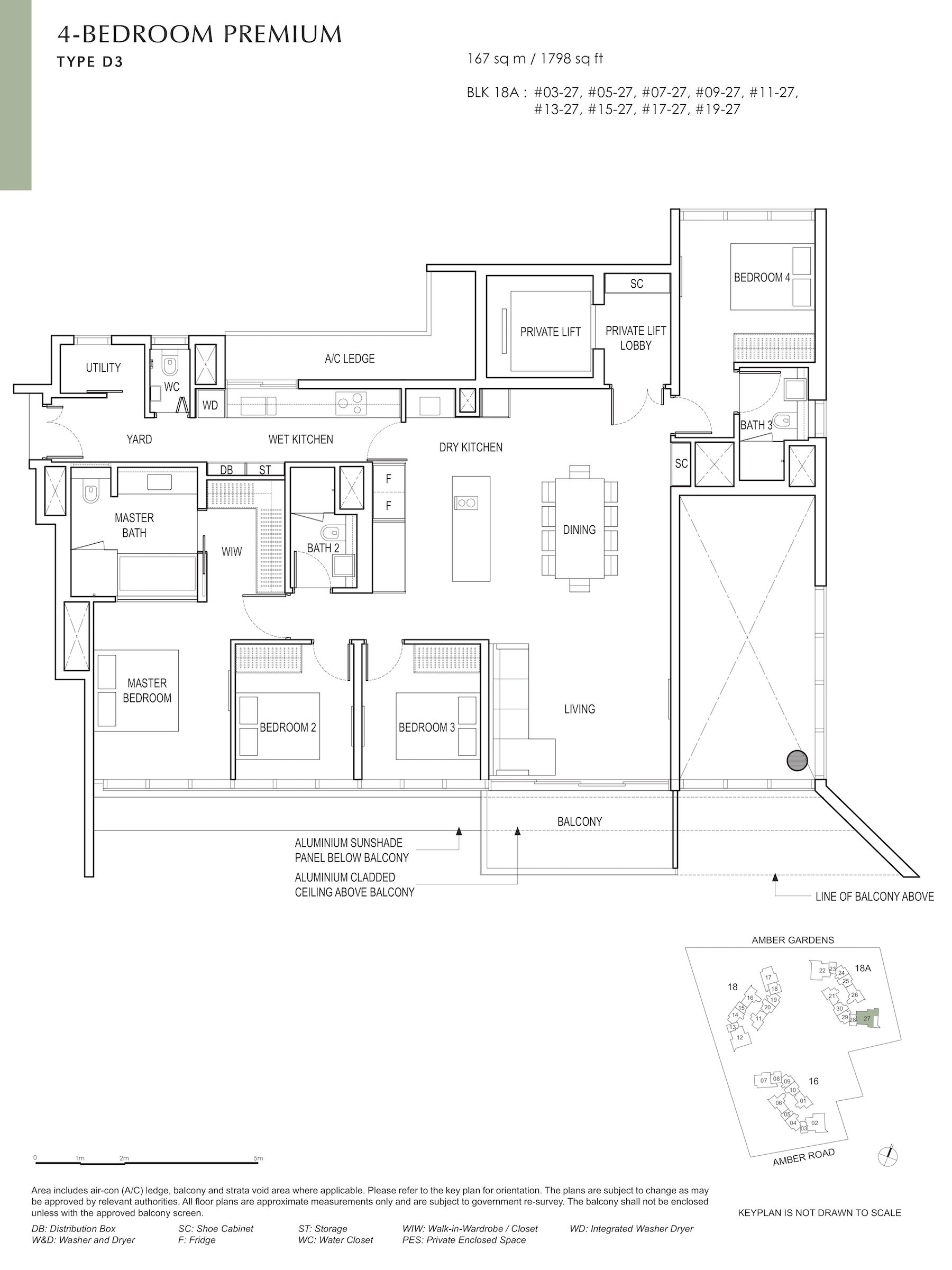 Amber Park 安铂苑 floor plan 4 bedroom premium 4卧房优质 D3