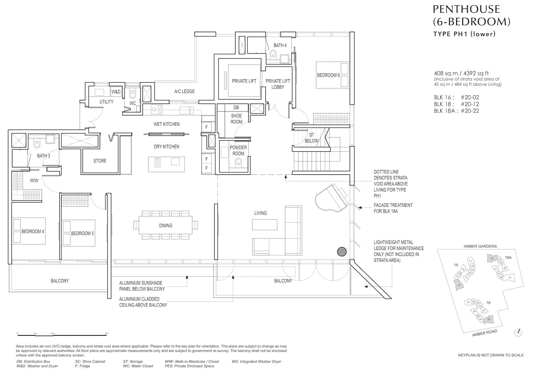 Amber Park 安铂苑 floor plan 6 bedroom penthouse 6卧房复式顶层PH1 lower
