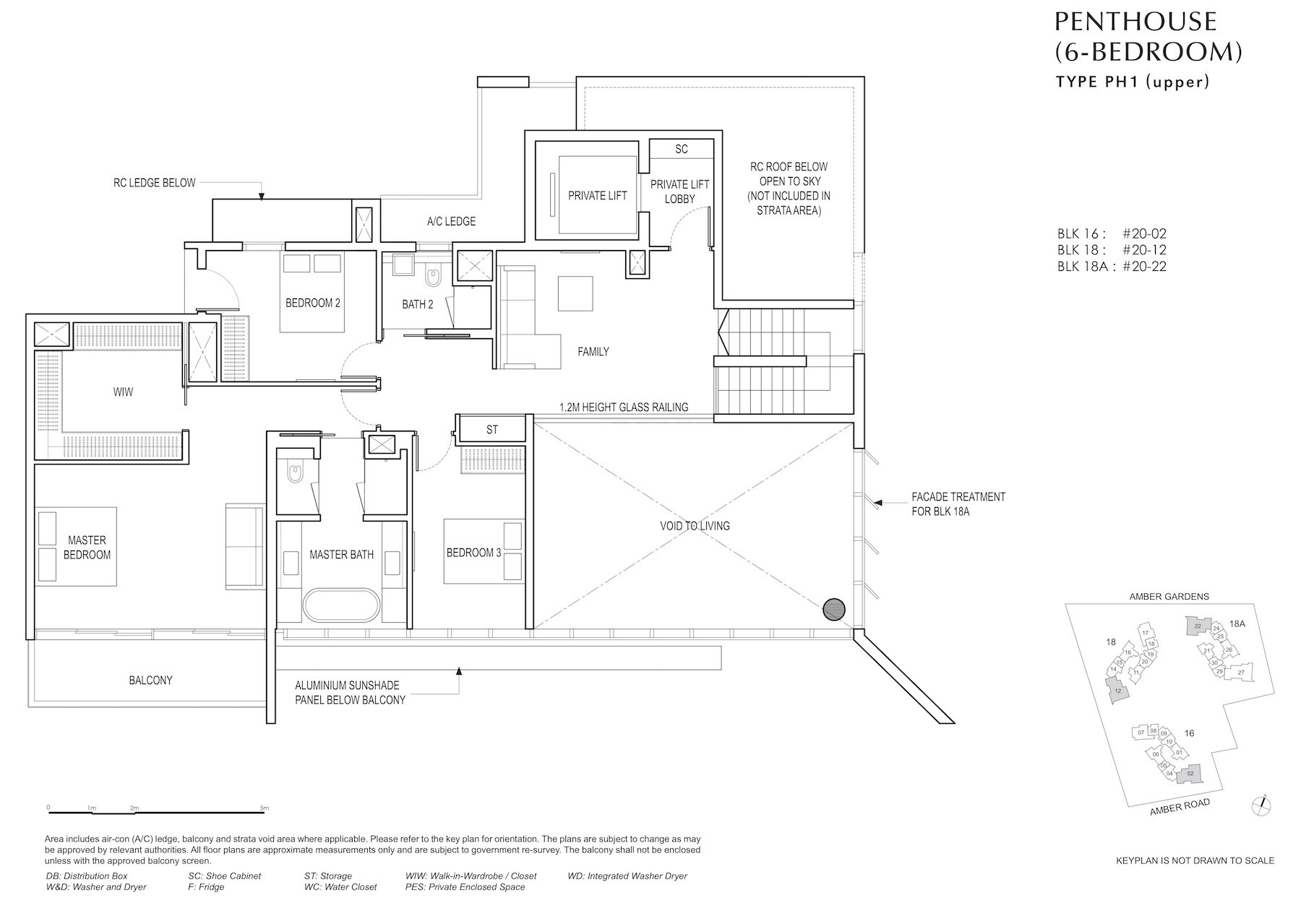 Amber Park 安铂苑 floor plan 6 bedroom penthouse 6卧房复式顶层PH1 upper