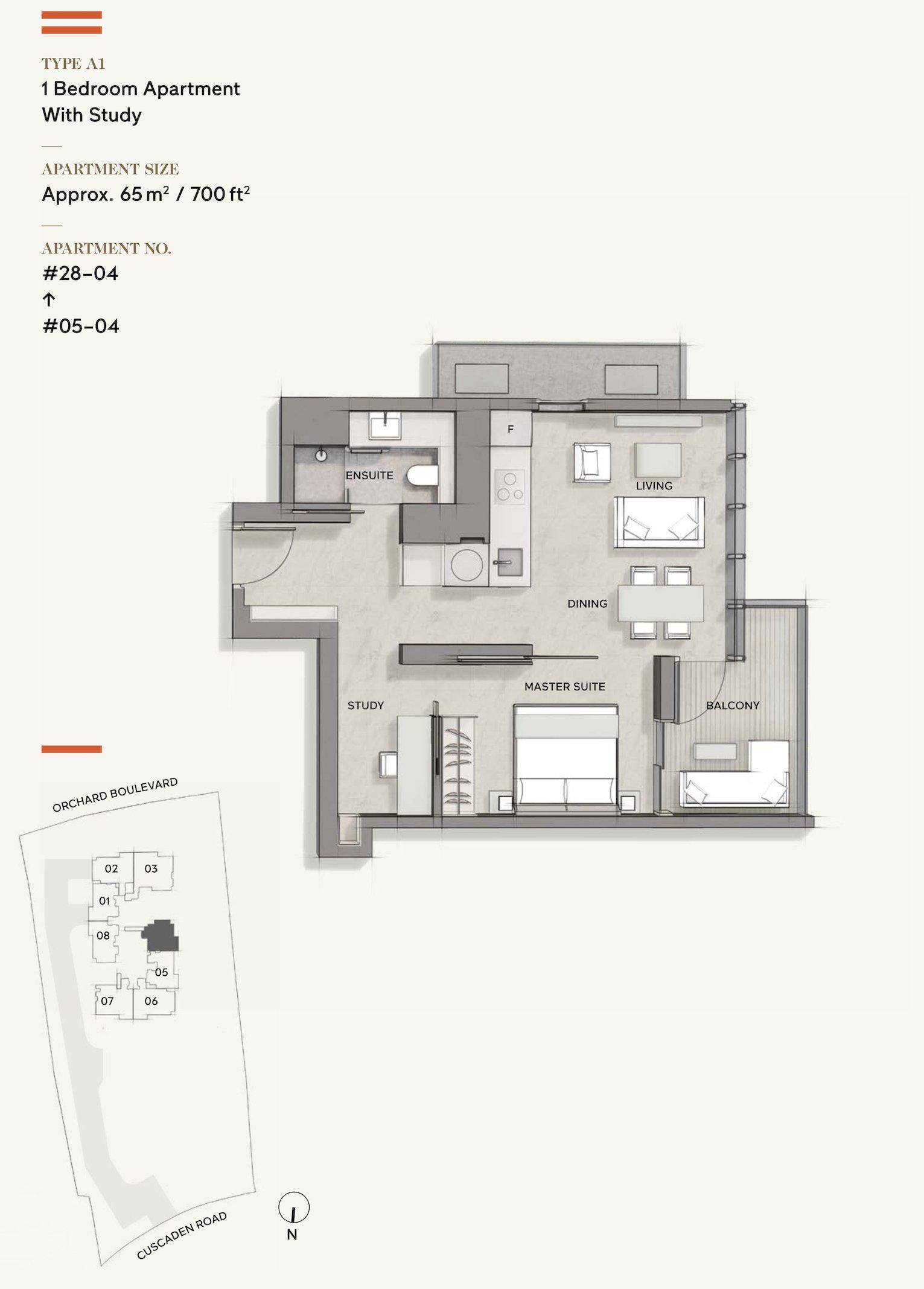 Cuscaden Reserve 公寓 floor plan 1 bedroom study