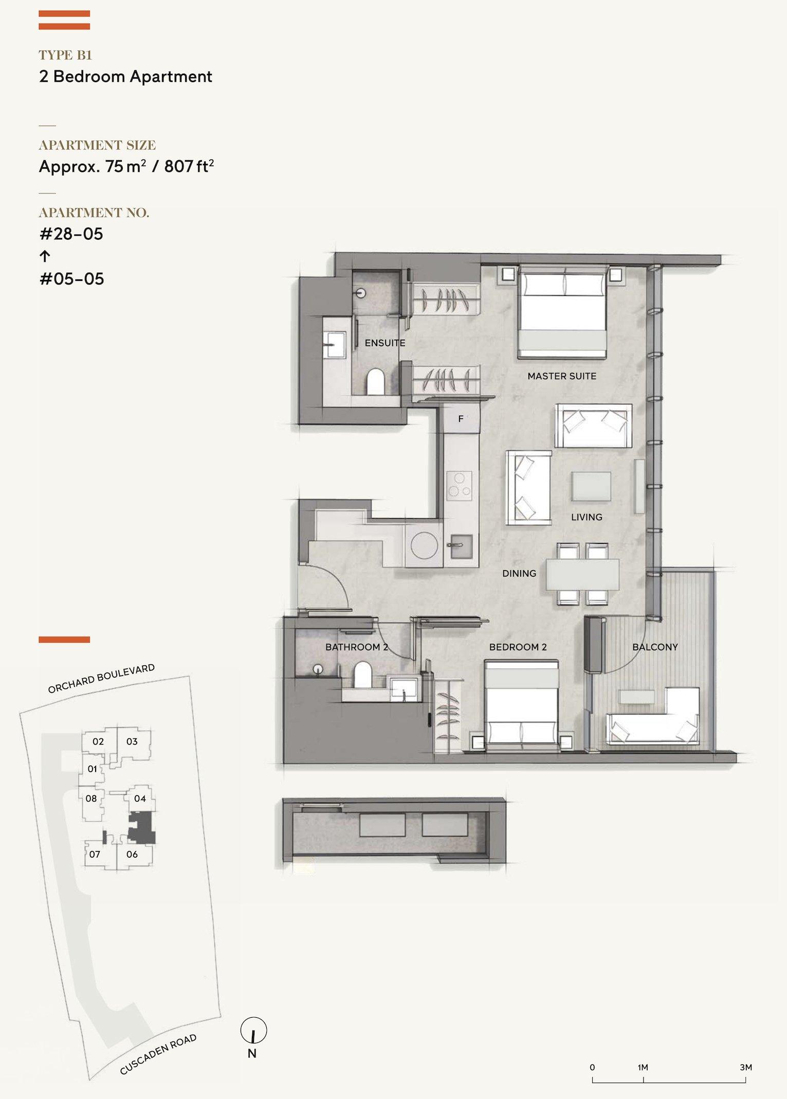 Cuscaden Reserve 公寓 floor plan 2 bedroom