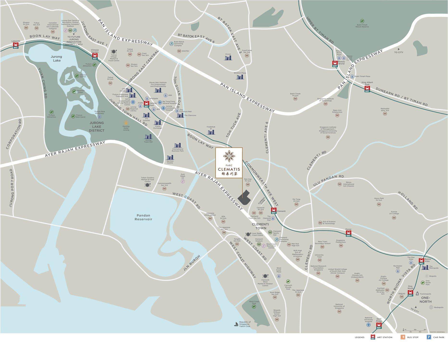 Parc Clematis location map
