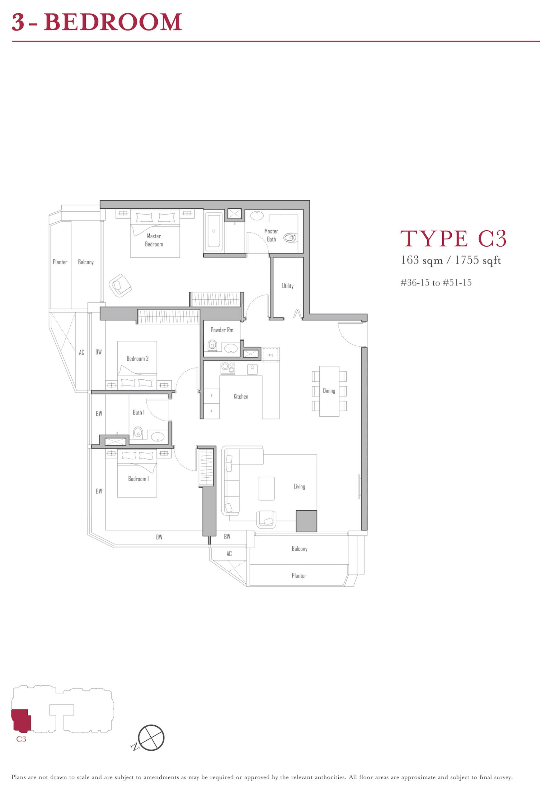 V on Shenton 珊顿-云尚 3 bedroom floor plan c3